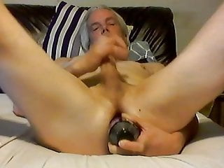 bottle in my ass and cock in my hand