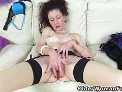 Skinny mature Scarlet fingers her moist fanny