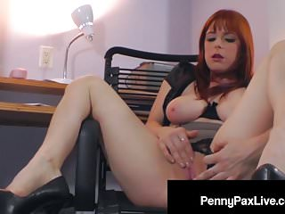 Red Headed Penny Pax Rubs Her Pussy Raw Late At The Office