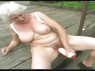 Granny norma nude and alone at the jetty...