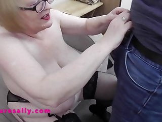 Big tits Granny soon has her young man hard