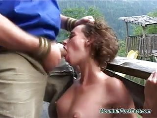 Mountain fuck fest babes takes big cock oudoor hard