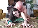 Slut demonstrates dildo to old man