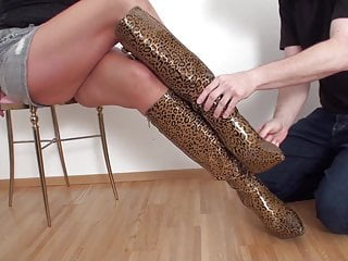 leopard boot licking and foot torment by giant Kim
