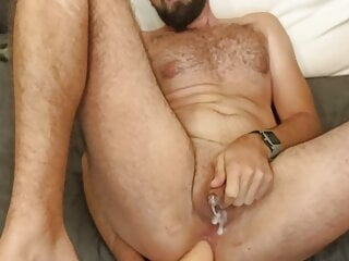 Tiny dick whit man play with big dildo and have Anal Orgasm