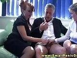 Hottest CFNM femdoms giving hot handjob