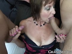Granny In Stellar Undergarments Slobber Roasted By Strung Up Youthfull Studs