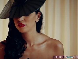 Dominant mistress lesbian strapon sub fucks her