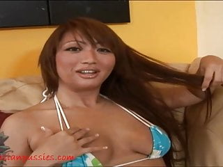 Old Asian hag gets her pussy fucked and cum on tits