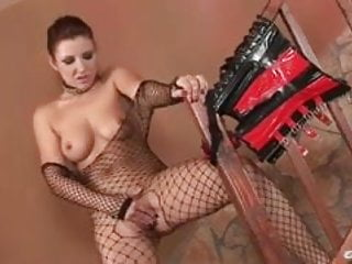 Maria Bellucci in fishnet playing naughty