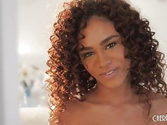 Natural Ebony Babe Scarlit Scandal Strips and Masturbates