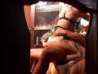 Cute blonde whore in green lingerie loves a...