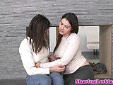 Lesbian girlfriend licking before girinding
