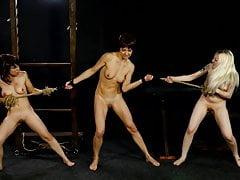 Tug of war between three slave girls