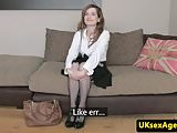 Rimming casting brit spunked on pussy