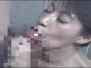 Japanese mom gives blowjob son in shower