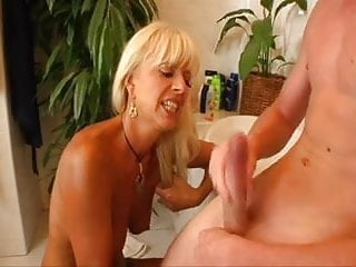 in Young Guy's Ass Eats MILF Blond Bathtub