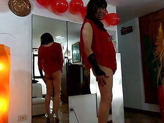 LADY IN RED CELEBRATING CHRISTMAS WITH BIG PENIS AND SPERM