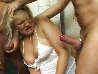 Blonde Blowjob Milf video: gangbang in public loo