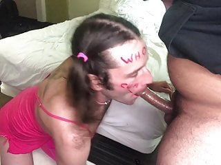 Whore Sissy drains a thick creamy load from uncut latin cock