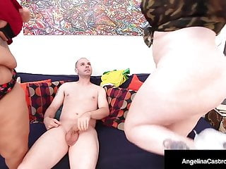 Curvy Dick, Starved Angelina Castro & Sofia Rose Milk A Cock!