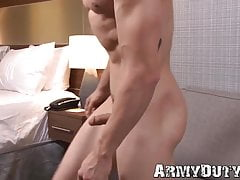 Handsome Military Gay Disrobes Naked And Tugs On His Hefty Cock