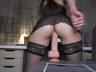 Creamy ride on huge dildo