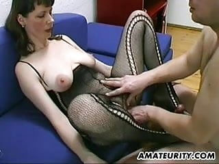 Busty and hairy blowjob titjob...
