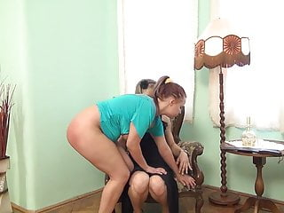 Mistress spanks and spreads her chubby redhead slave