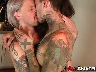 Slim tattooed alt gays fuck hardcore...