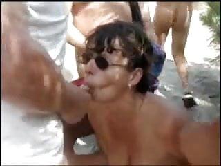 French granny bitch bukkake among the dunes of...