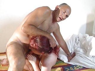 German Grandpa and Grand Son Fuck Redhead Mature Threesome