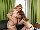 Mature inked babe and her younger lesbian friend