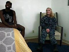 Beautiful Military girl's first bbc fuck