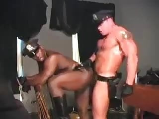 Muscled cops interracial...