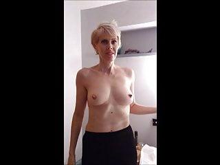 Nipples Blonde porno: Slut wife strips to show huge erect nipples