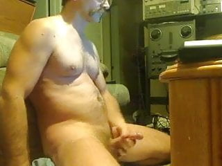dirty uncle with mustache wanking and jerking in his mancaveHD Sex Videos
