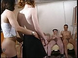 Hot brunette gets down on her knees to sucks a big white cock