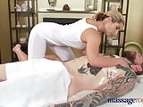 Massage Rooms Cute petite brunette sucks and fucks