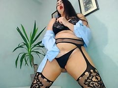 BBW MIlf dance and masturbate chubby pussy in sexy lingery