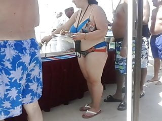 In bikini tits at the beach buffet line...