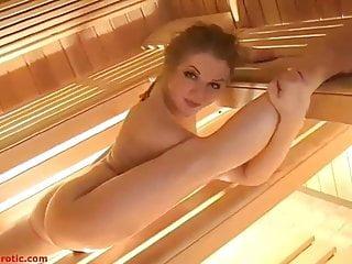 Flexible russian girl in sauna