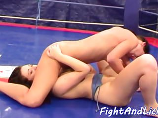 Sixtynine pose loving dykes wrestling...
