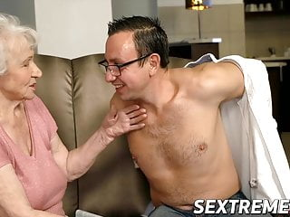 Voluptuous granny lets younger man pound her fine and arduous
