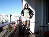 Sandralein33 smoking Emo Girl in hot short Jeans