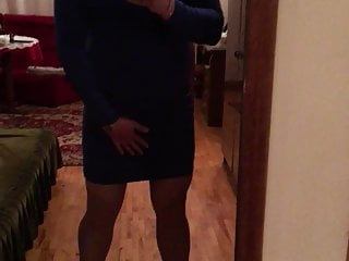 Sissy blue dress hells...