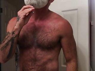 Hairy bearded daddy grooming boner...
