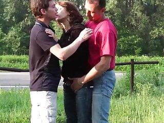 Daring sex gangbang threesome 1...