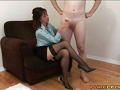 Kelly Hart Wanks Her Butler off Onto Her Sexy Stockings