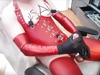 Jerking her big fat sissy cock...